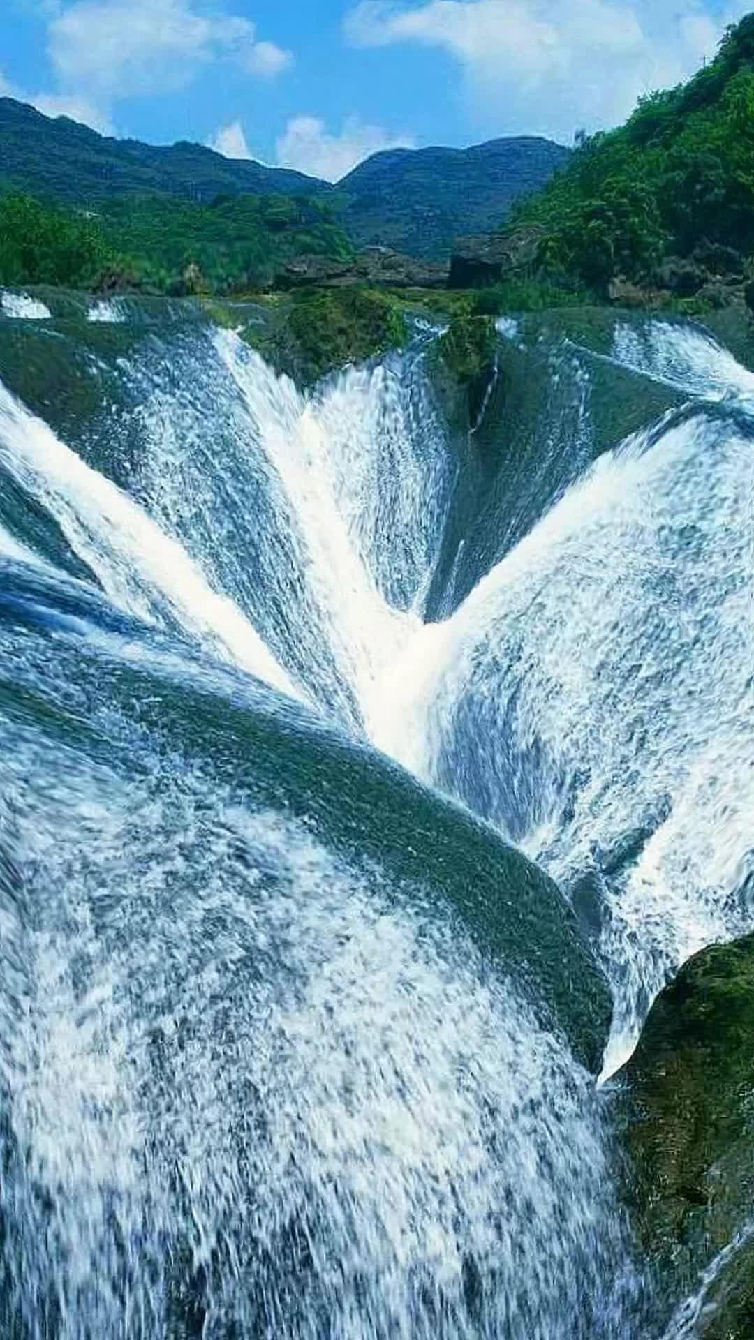 china, mirage, nature, trees, water, waterfall, The Pearl Waterfall, China GIFs