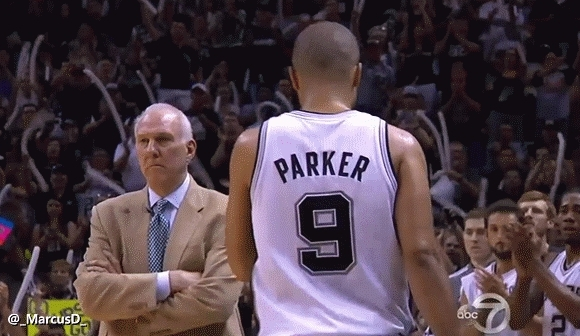 nba, nbaww, Gregg Popovich ignoring Tony Parker and Tim Duncan as they come out of the game. (reddit) GIFs