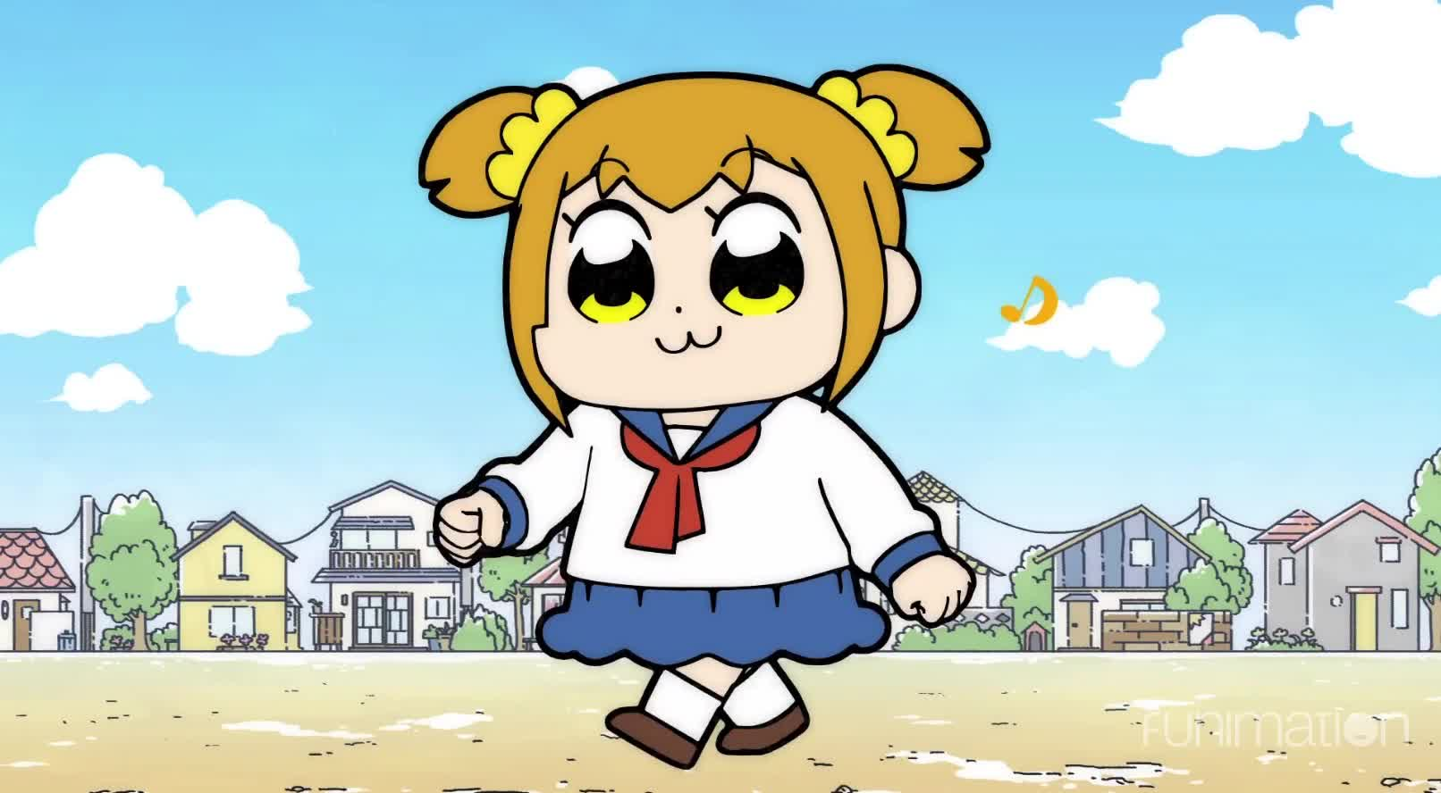 anime, cartoon, comedy, funimation, funny, pop team epic, pop team epic episode 4, Walking down the street GIFs