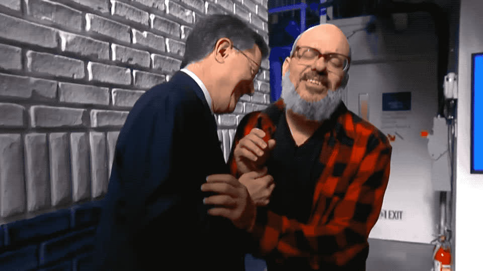 I love you, aww, awww, best, bff, colbert, cross, cute, david, friends, hug, kiss, kisses, late, lol, love, night, stephen, sweet, you, David Cross and Stephen Colbert hug GIFs