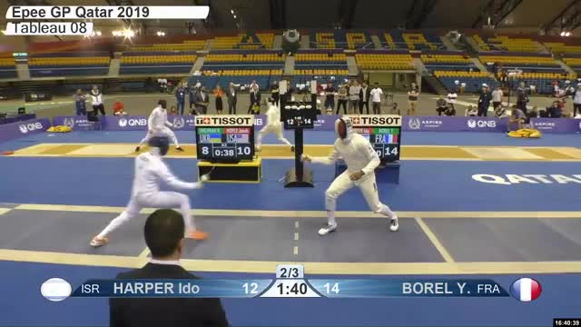 Watch HARPER Ido 12 GIF by Scott Dubinsky (@fencingdatabase) on Gfycat. Discover more gender:, leftname: HARPER Ido, leftscore: 12, rightname: BOREL Y, rightscore: 15, time: 00029704, touch: right, tournament: doha2019, weapon: epee GIFs on Gfycat