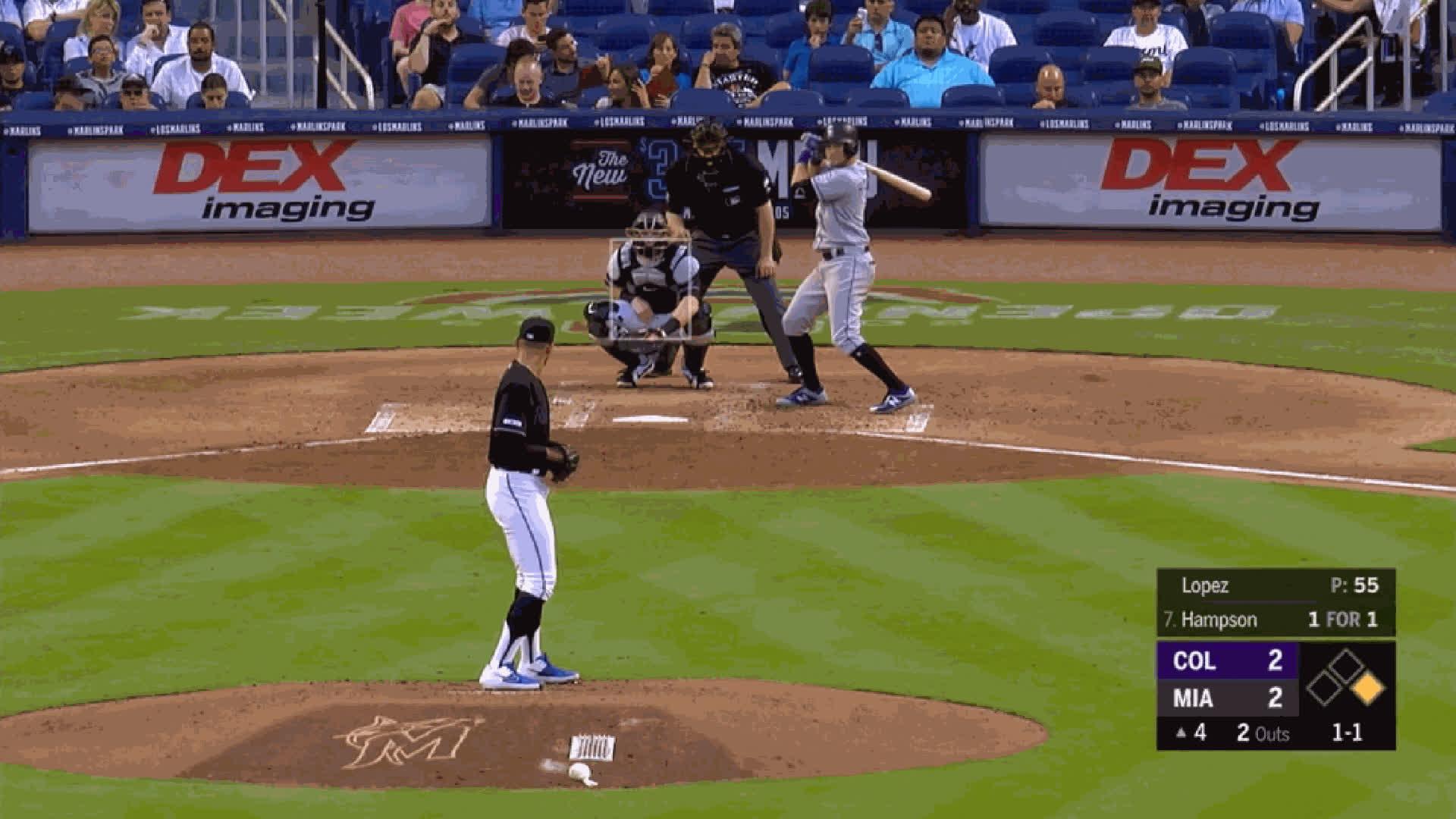 Colorado Rockies, Miami Marlins, baseball, Pablo Lopez-CU-b2bKwhiffslomo GIFs