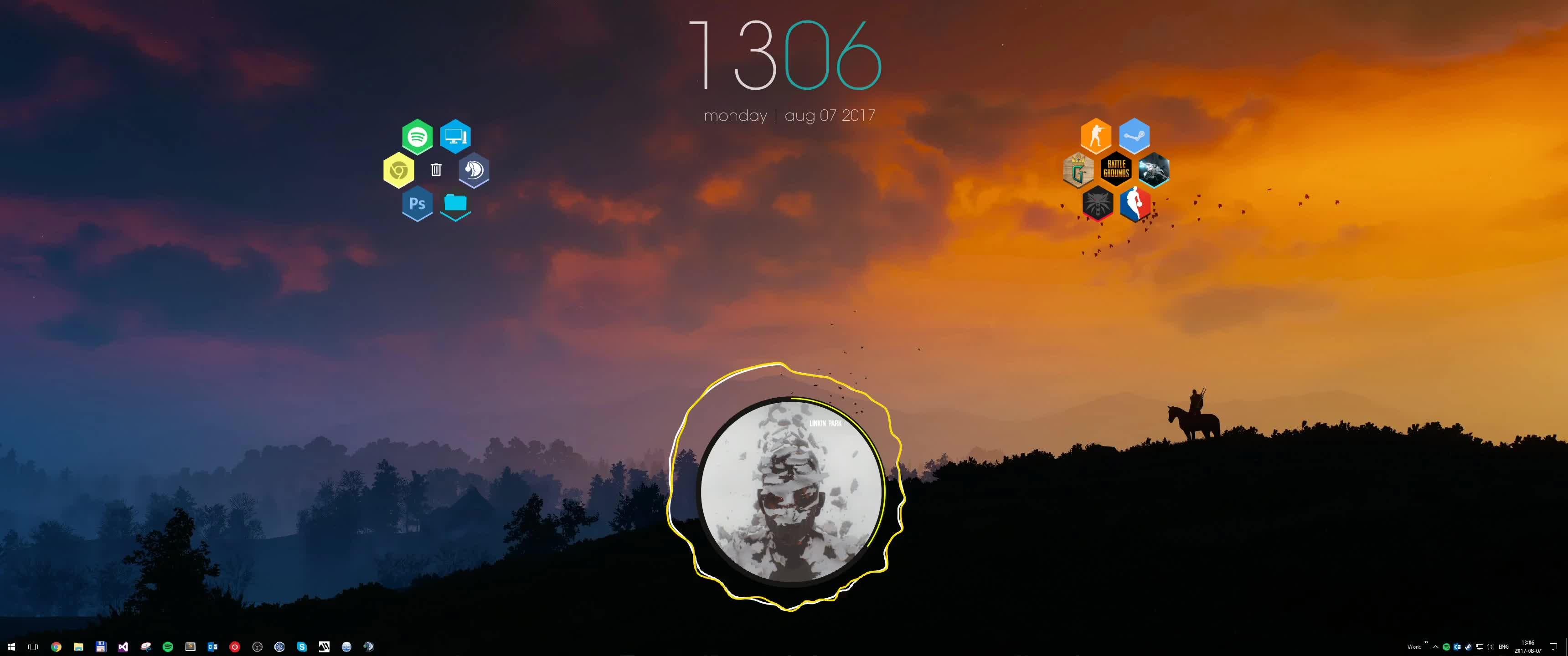 honeycomb, music, pcmasterrace, pcmr, rainmeter, ultrawide, ultrawidemasterrace, Another simple rainmeter desktop GIFs