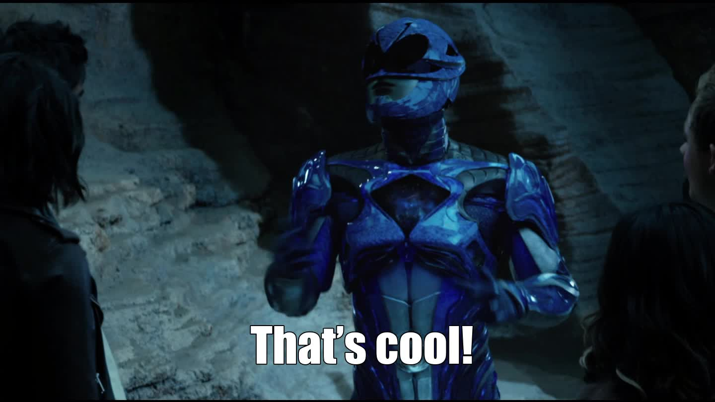 cool, lionsgate, movies, power rangers, powerrangers, that's cool, That's cool! Blue Ranger - Power Rangers Movie GIFs