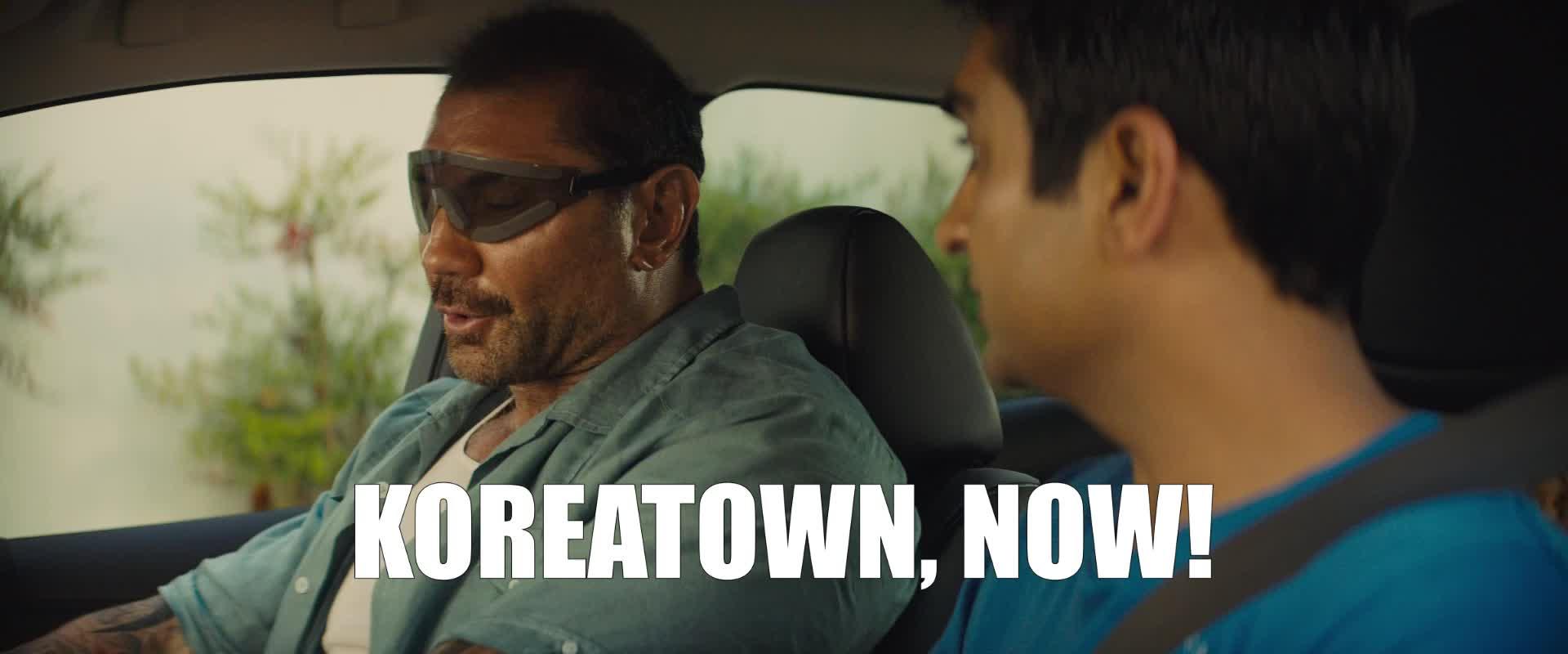 dave bautista, koreatown, stuber, stuber movie, uber, Dave Bautista Koreatown Now GIFs