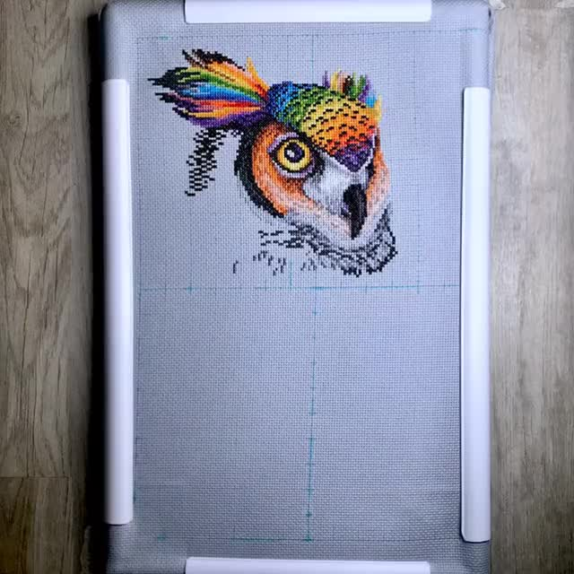 Watch and share Cross Stitch GIFs and Owl GIFs by littlebluehook on Gfycat