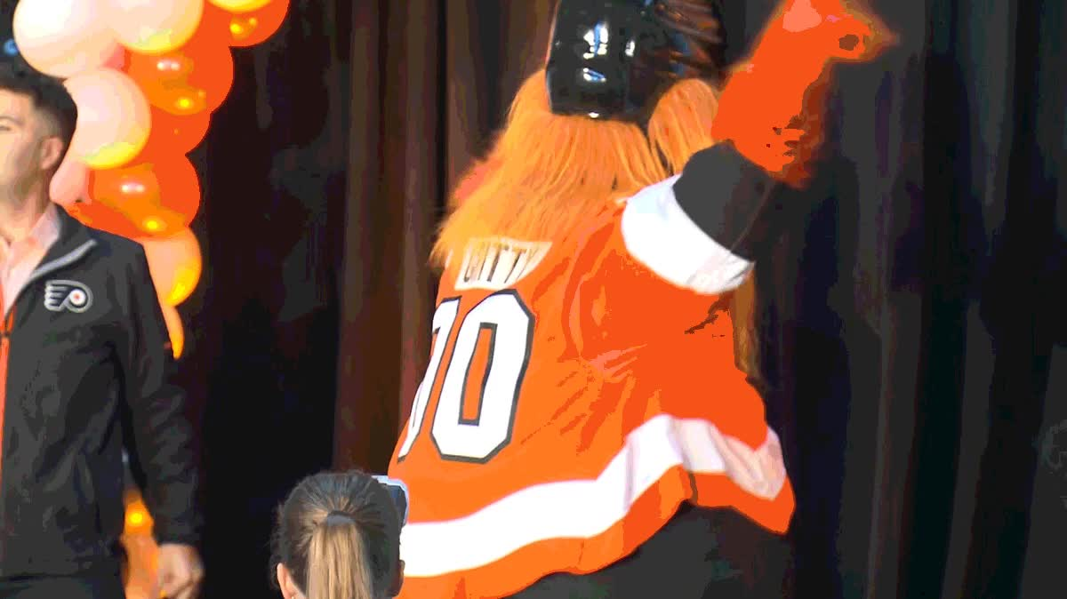 Alex Fitzpatrick, googly eyes, mascot, philadelphia flyers, philadelphia flyers get a new mascot GIFs