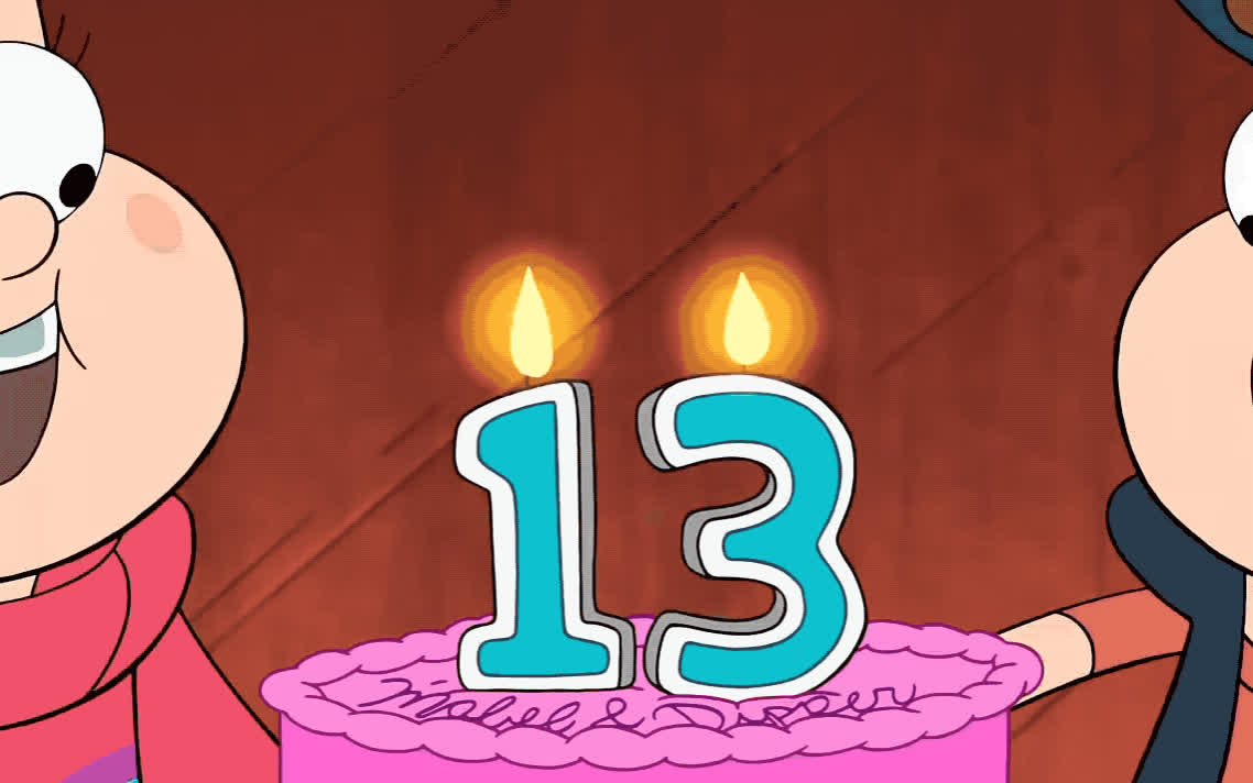 13, a, bday, birthday, blow, brother, cake, candles, celebrate, celebration, falls, gravity, happy, happy birthday, make, old, smile, thirteen, wish, years, Gravity falls - Happy birthday GIFs
