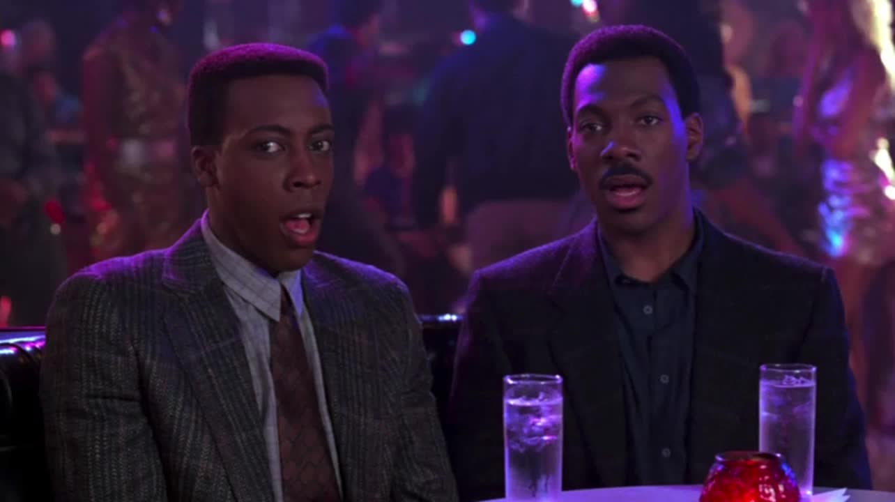 amazed, arsenio hall, awe, celebs, coming to america, eddie murphy, flabbergasted, open mouth, shocked, stare, staring, Coming To America - Watch in awe GIFs