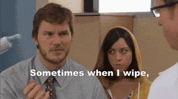 aubrey plaza, chris pratt, funny, parks and rec, parks and recreation, poop, reactiongifs, nothing! nothing! parks and recreation sometimes when poop andy parks and recreation sometimes when poop andy and,recreation,Wipe pooP,sometimes,when,poop,parks,andy Sirs Sirs (reddit) GIFs