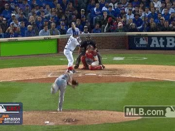 Watch and share Kyle Schwarber Of The Chicago Cubs Hits Home Run GIFs on Gfycat
