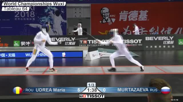 Watch UDREA Maria 6 GIF by Scott Dubinsky (@fencingdatabase) on Gfycat. Discover more gender: female, leftname: UDREA Maria, leftscore: 6, rightname: M U RTAZAEVA, rightscore: 0, time: 00000184, touch: left, tournament: wuxi2018, weapon: epee GIFs on Gfycat