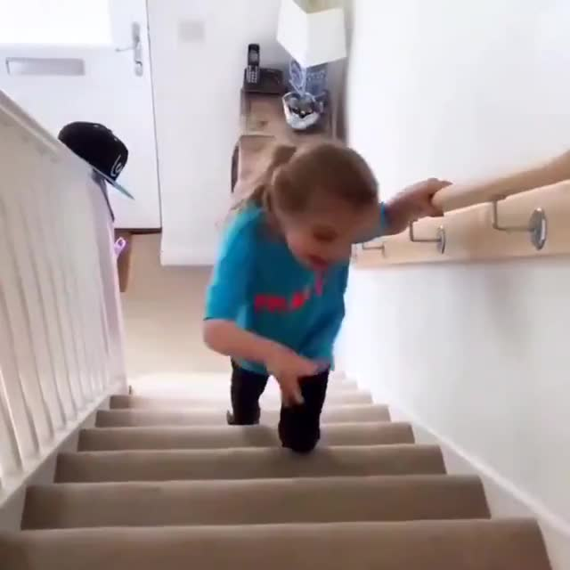 Watch and share Girl With Cerebral Palsy Walks Up The Stairs By Herself For The First Time GIFs by gangbangkang on Gfycat