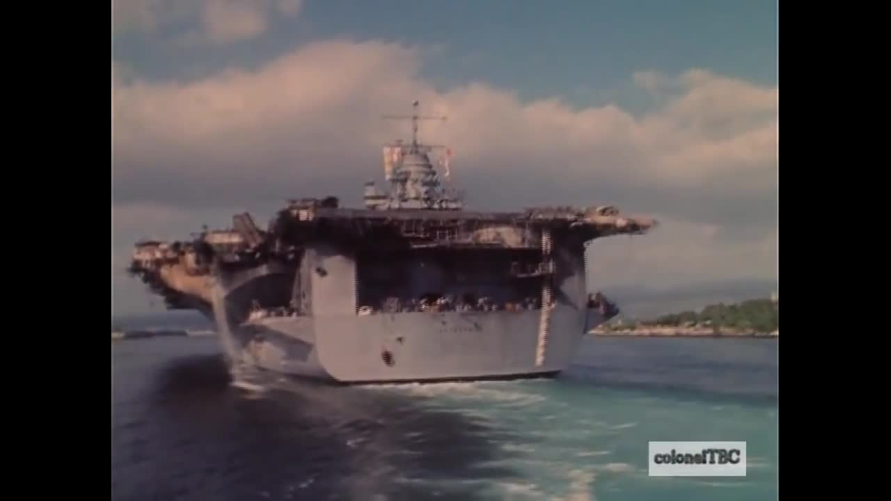 USS Enterprise (CVN-65) enters Pearl Harbor after a huge fire - 14 January 1969 Part 3 GIFs