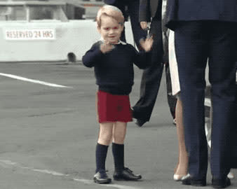 adios, boy, bye, canada, child, cu, cute, family, farewell, george, goodbye, hola, kid, later, prince, royal, see, toddler, uk, you, Prince George waves goodbye GIFs
