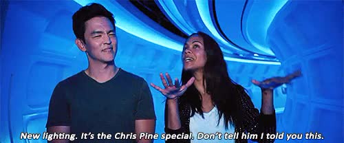 Watch this zoe saldana GIF on Gfycat. Discover more *gif, 500, THE CHRIS PINE SPECIAL THO, i had to use the youtube link for vlc so i'm sorry the quality is horrendous, john cho, mine, my stuff, star trek beyond, trek cast, trekedit, zoe saldana GIFs on Gfycat