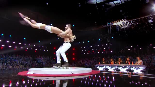 Watch and share Billy & Emily England: Skaters Push Boundaries In Scary Skate Act - America's Got Talent 2017 GIFs by Saostar.vn on Gfycat