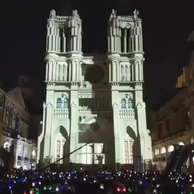 Spotlight video mapping on a church in Bucharest GIFs