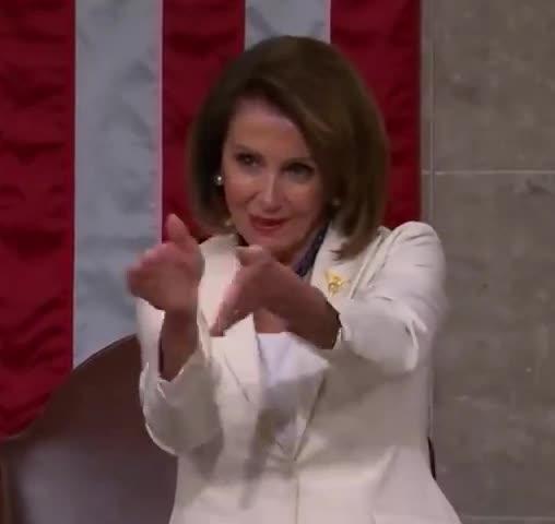aww, bff, bravo, clap, clapback, done, epic, fake, faking, ironic, irony, nancy, of, pelosi, proud, smile, trump, well, you, Nancy Pelosi's clapback steals Trump's show GIFs