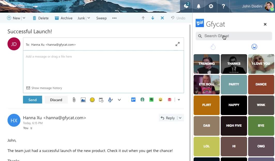 Gfycat, How To, Outlook, Outlook web, Outlook.com, tutorials, Select a GIF and Press Send | How to Send GIFs in Outlook with Gfycat GIFs