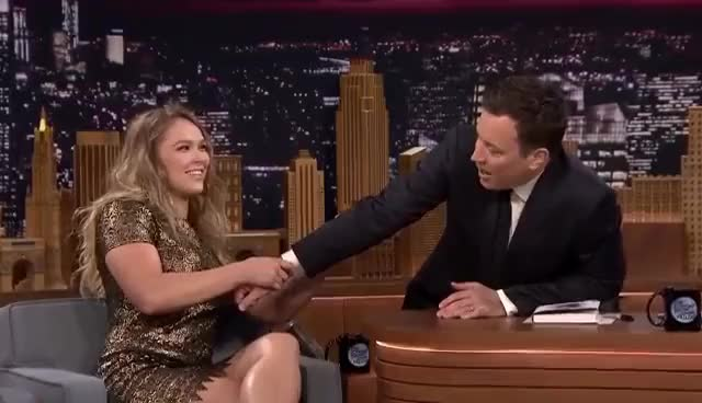 Watch and share Jimmy Fallon GIFs and Ronda Rousey GIFs on Gfycat