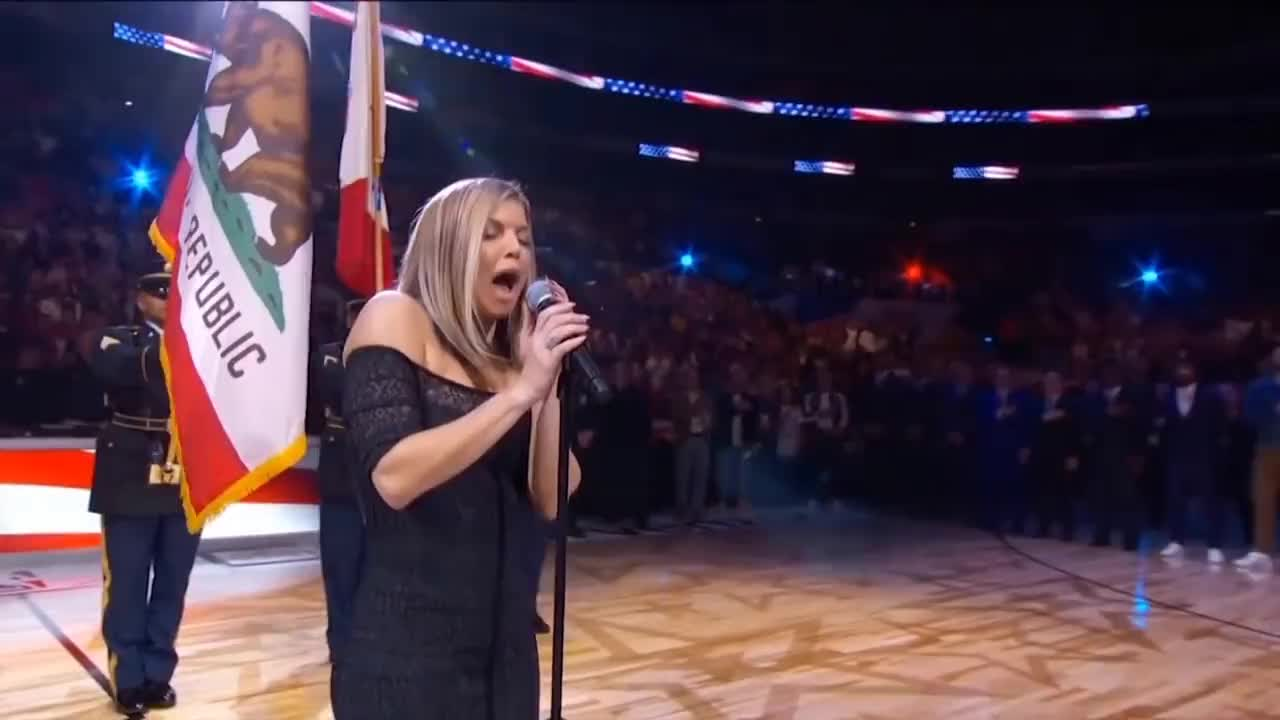 all tags, basketball, black eyed peas, fergalicious, fergie, fergie duhamel, game, highlights, lebron, mlg, nba, plays, sports, stephen, team, Fergie Performs The U.S. National Anthem / 2018 NBA All-Star Game GIFs
