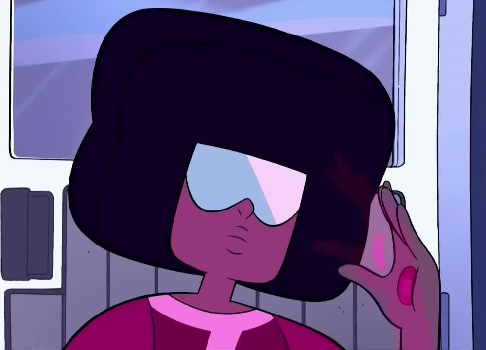 deal, eyes, flirt, garnet, got, gotcha, hey, it, like, ok, steven, steven's, sunglasses, three, universe, wink, with, you, Garnet's wink GIFs
