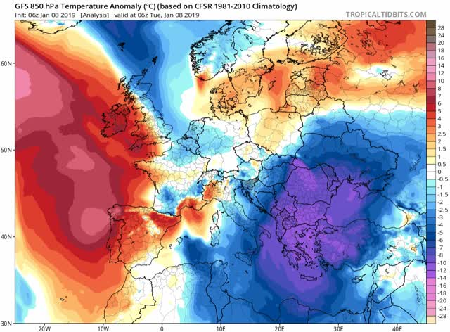 GFS - 850 hPa Temperature Anomaly Europe January 2019