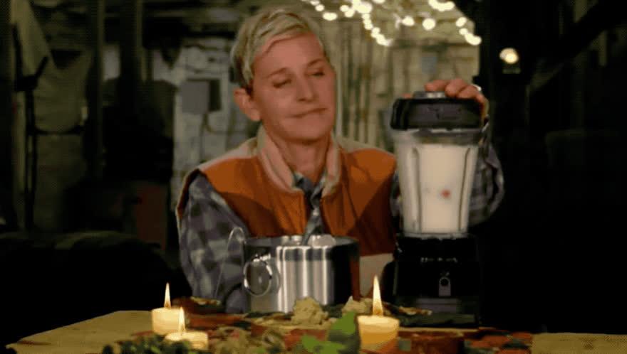 be, blender, comedy, comment, don't, ellen, hush, lol, mixer, no, place, quiet, shh, silence, silent, smoothy, speak, stop, wait, word, Ellen - A quiet place GIFs