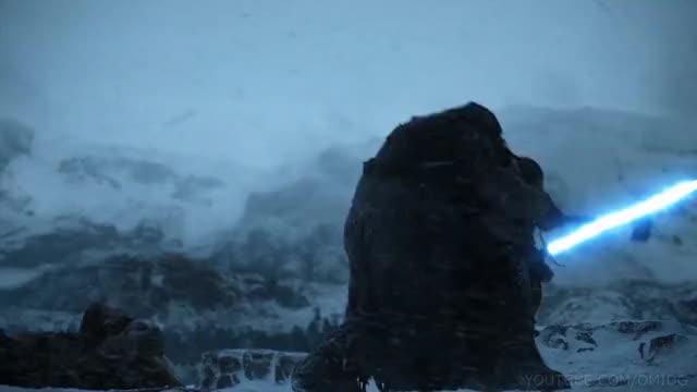Watch this aegon targaryen GIF on Gfycat. Discover more Episode 6, Game of Thrones, Jon Snow, Lightsabers, Season 7, Star Wars, aegon targaryen, episode 6, game of thrones, got, hbo, jon snow, kit harington, lightsabers, season 7, star wars GIFs on Gfycat