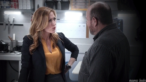 Maura Isles, RandI gifs, Rizzoli & Isles, black jacket, maura's hair, s5e4, yellow, Perfect woman has perfect boobs. GIFs
