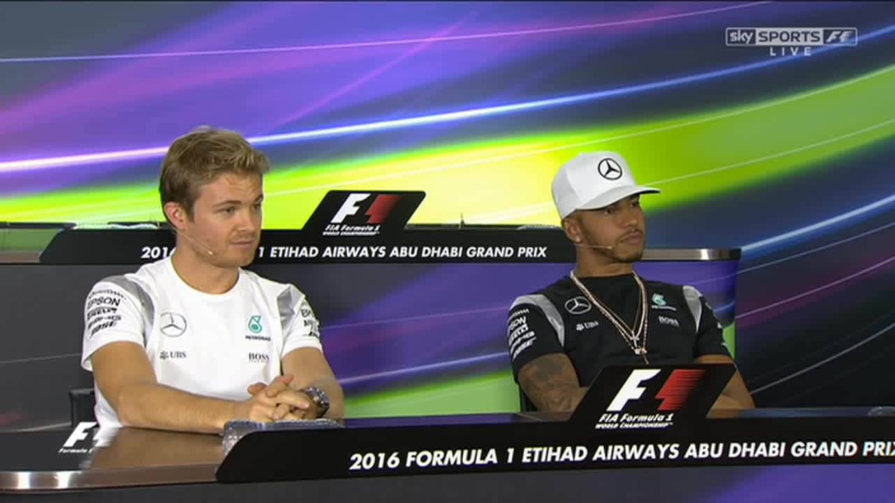 f1, formula 1, formula one, 2016 Abu Dhabi - Drivers Press Conference - Lewis Hamilton & Nico Rosberg - Part 2 GIFs
