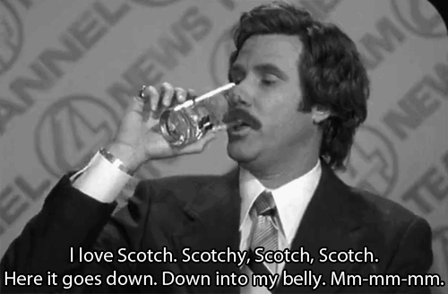 drinking, love, ron burgundy, scotch, will ferrell, Ron Burgundy drinking scotch GIFs