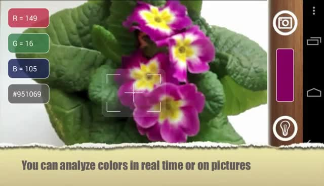 ColorMeter  - pick live colors around using camera or photos. Android app for phones and tablets. GIFs