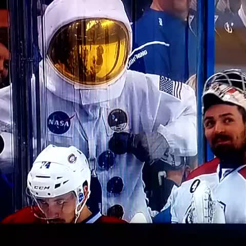 Watch Carey can't help but laugh at the dancing spaceman (reddit) GIF on Gfycat. Discover more hockey, sportsarefun GIFs on Gfycat