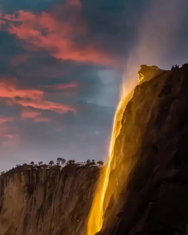 WONDERLUST COLLECTIVE, wondermore, ⠀⠀ An incredible transformation when Horsetail Fall turns into FireFall 10 days in late February.. Hoping they put out the current fires saf GIFs