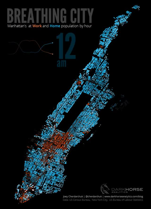 "Watch and share 24 Hour ""Breathing"" Map Of Manhattan, Made With Excel (x-post From R/gifs) : Dataisbeautiful GIFs on Gfycat"
