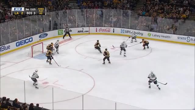 Watch [LA 2 - BOS (4)] Bergeron has patience on the shorthanded 2 on 1 and finds Marchand for the tip in GIF by Beep Boop (@hockeyrobotthing) on Gfycat. Discover more Boston Bruins, hockey GIFs on Gfycat
