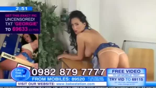 UK telephone model Georgie Darby has a wardrobe malfunction on cam