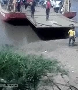 Watch This guy decides to hop of a ferry while it's still moving GIF on Gfycat. Discover more maybemaybemaybe, nonononoyes GIFs on Gfycat