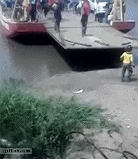 maybemaybemaybe, nonononoyes, This guy decides to hop of a ferry while it's still moving GIFs