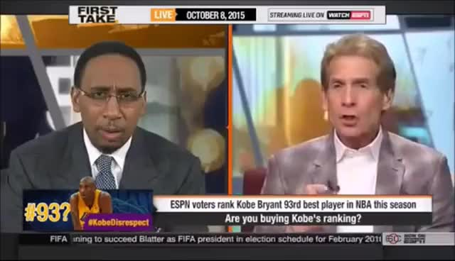 Watch Stephen A Smith Reaction: Kobe ranked 93rd overall - BLASPHEMOUS! GIF on Gfycat. Discover more related GIFs on Gfycat