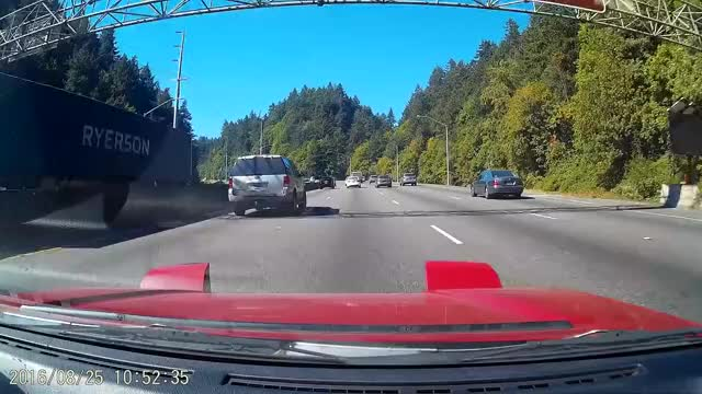 Watch and share Idiot Continues Undertake Of Lane Changing Dump Truck On The Shoulder. GIFs by langly on Gfycat