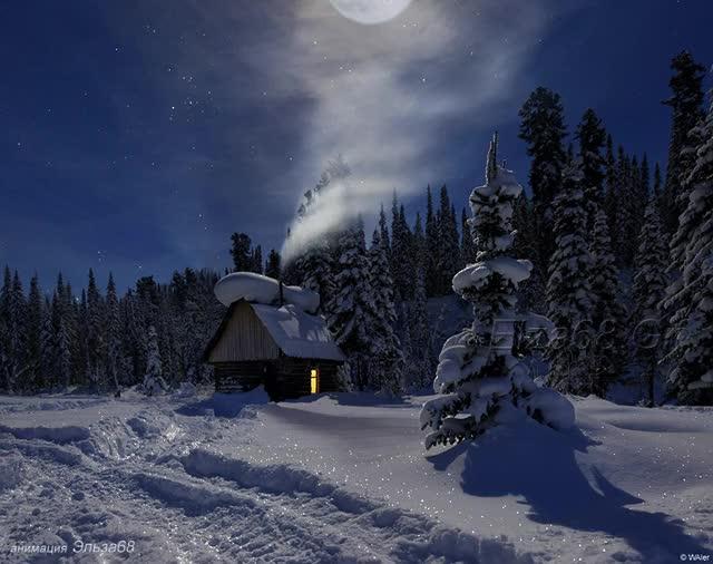 chalet a la montagne, neige, hiver