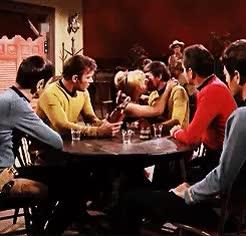 Watch this GIF on Gfycat. Discover more captain kirk, chekov, kirk, leonard mccoy, mccoy, scotty, spock, star trek, star trek tos, tos GIFs on Gfycat