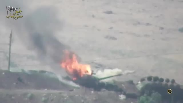 DestroyedTanks, Explosion_Gfys, gifs, RPG-29 barbecues a Syrian T-72 (reddit) GIFs