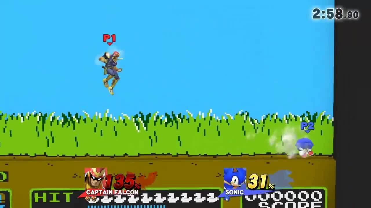 replays, smashbros, super smash bros., Sonic can't outrun Falcon Punch GIFs