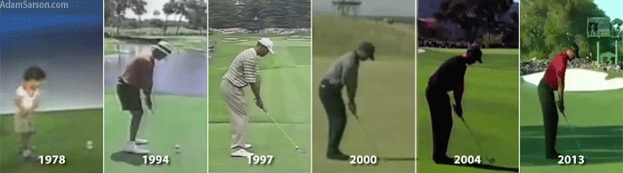 golf, superathletegifs, Tiger Woods swing throughout the years (reddit) GIFs