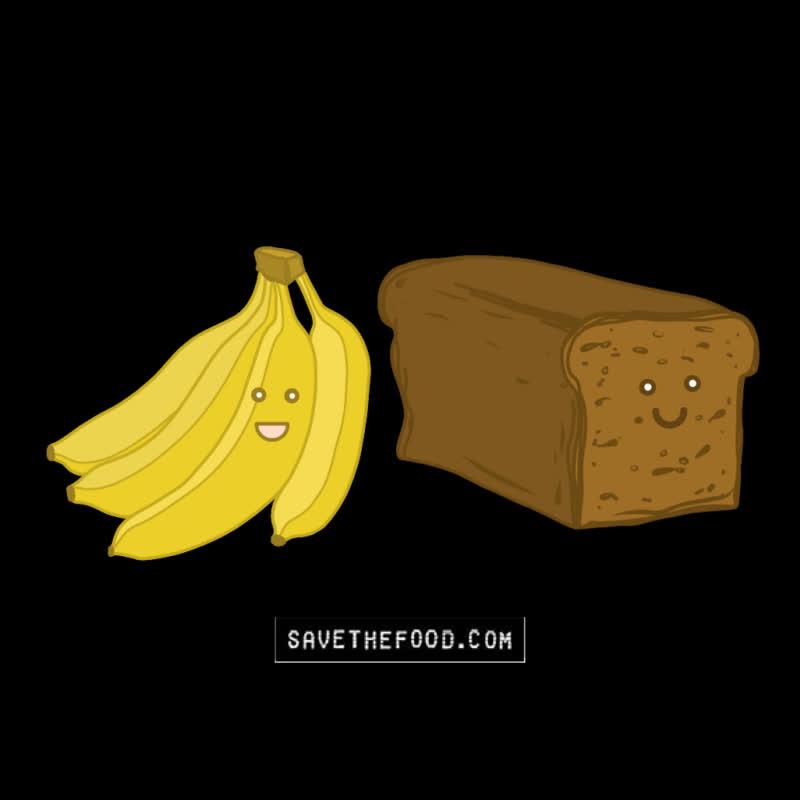 banana, banana bread, bananas, bread, food, food waste, save the food, Turn Bananas Into Banana Bread GIFs