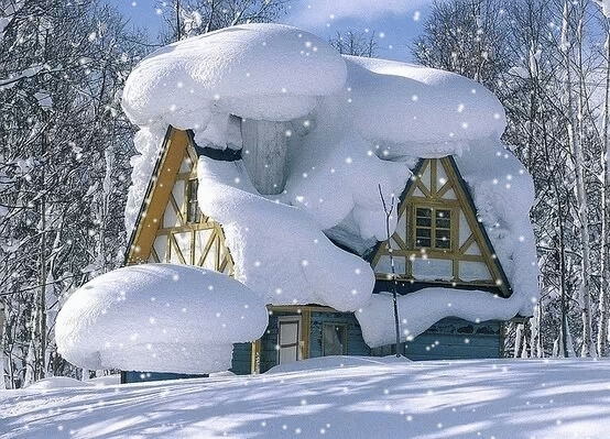 Snowing house GIFs
